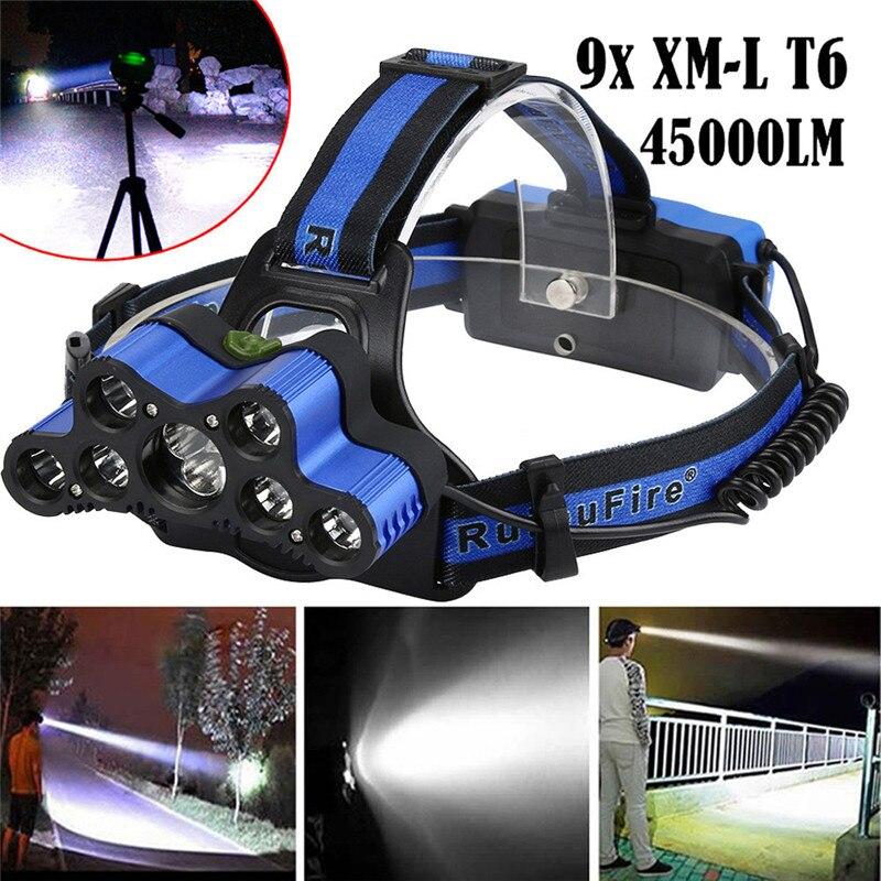 45000 LM 9X XM-L T6 LED recargable faro Faro de cabeza para viaje de seguridad y supervivencia Z0105
