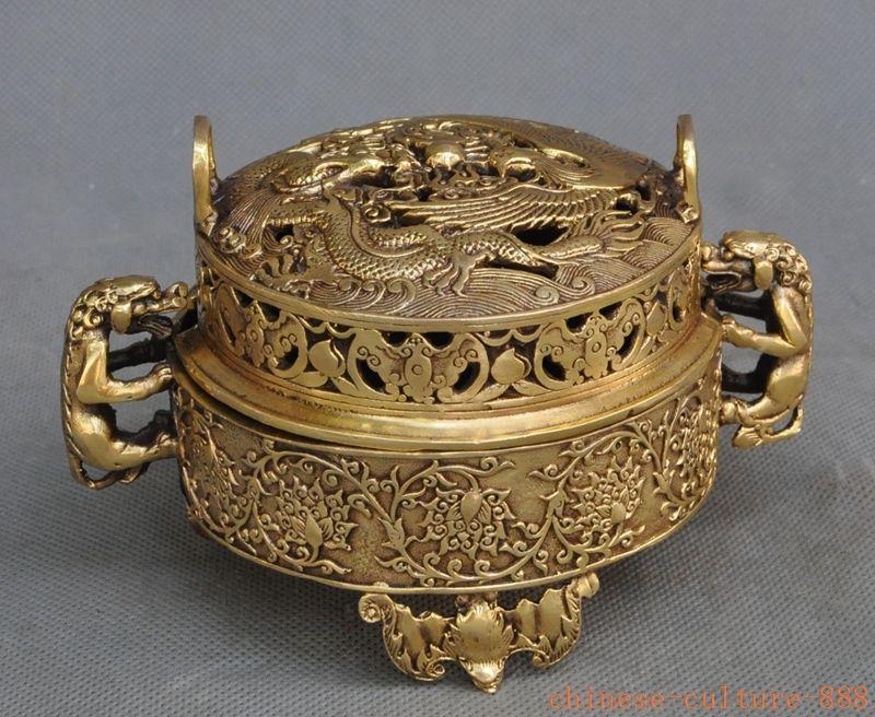 Crafts statue chinese fengshui brass dragon phoenix foo dog lion statue Incense Burner Censer halloween