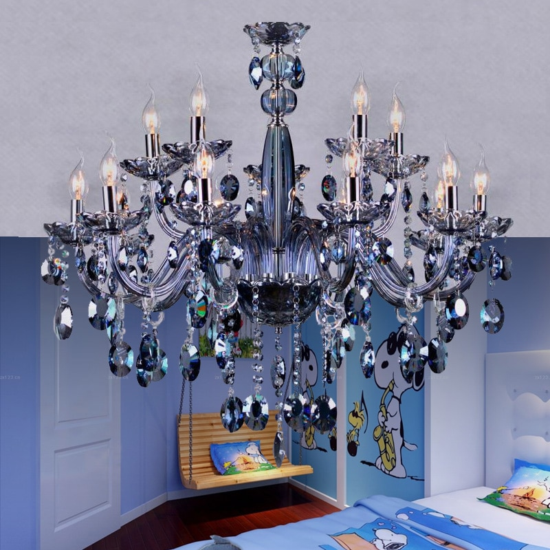 María Teresa araña luz azul cristal iluminación chandelir vidrio para dormitorio vela araña de cristal de los colgantes lámpara romantica lamparas colgantes led modernas y cromo lámparas de techo clasicas