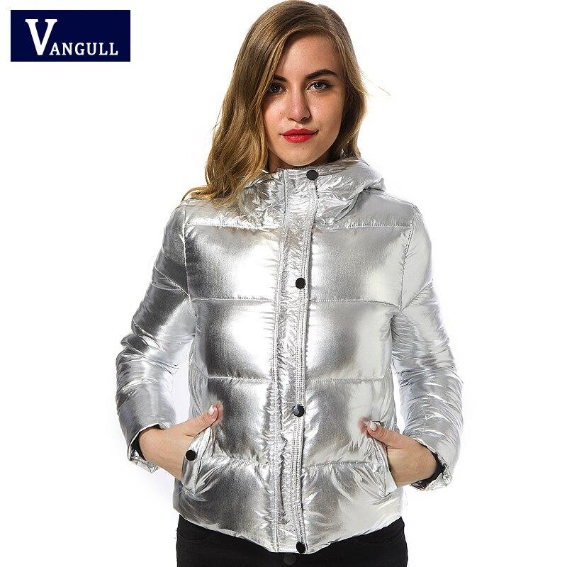 Vangull-女性用フード付きジャケット,カジュアル,ファッショナブル,冬,暖かい,シルバーメタル,長袖スリム,コレクション2021