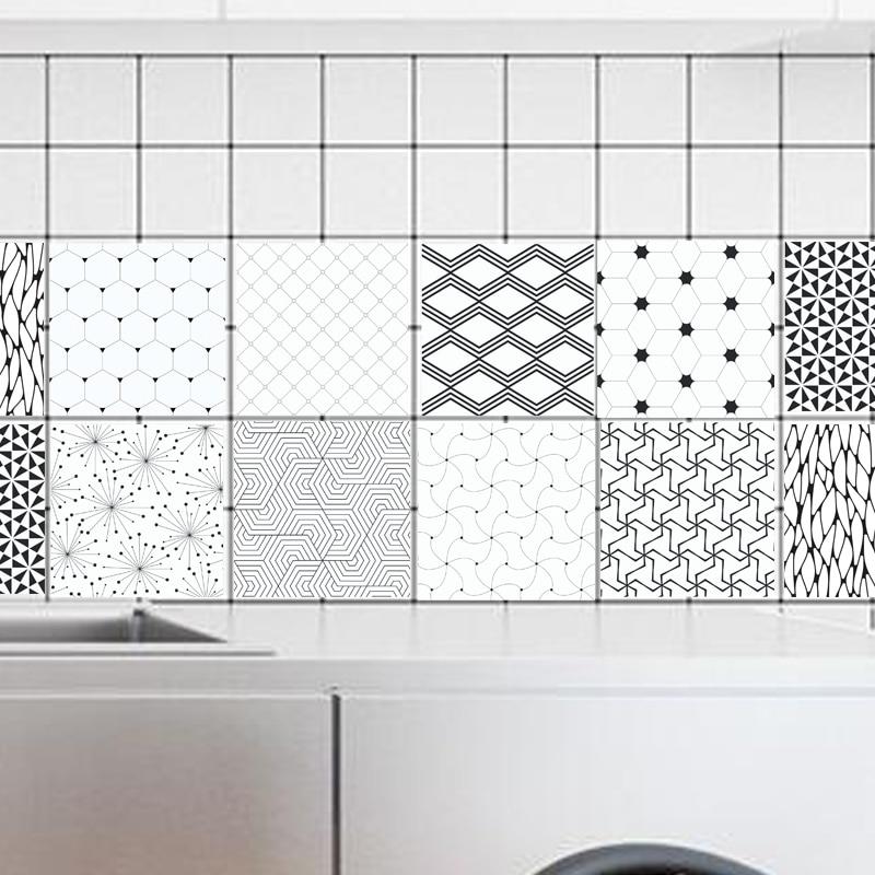 Tile Stickers Retro Black White geometry Wall Stickers Bathroom Kitchen Pvc Plat Walpaper Wall Decal 100x20cm
