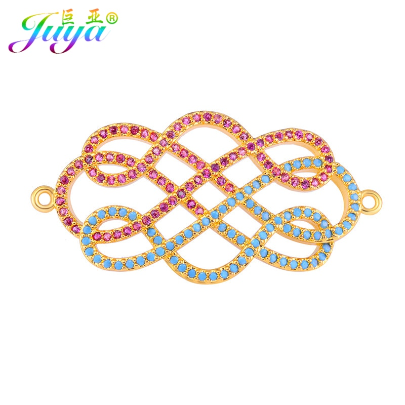 Accesorios de joyería DIY Juya, Micro pavé de circón infinito, Conector de nudo chino, accesorios de colgantes para costura, fabricación de joyas