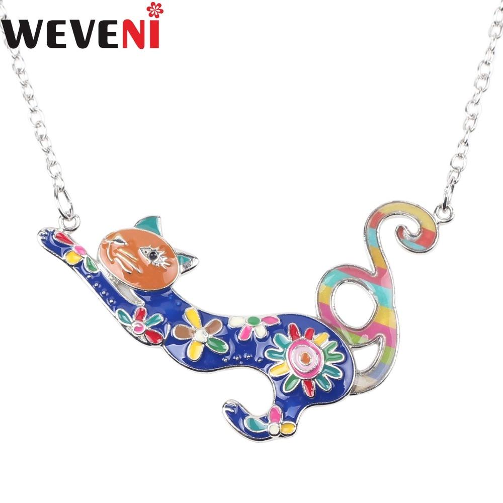 WEVENI Statement Enamel Metal Floral Cat Choker Necklace Pendants Chain Collar Fashion Animal Jewelry For Women Girl Accessories