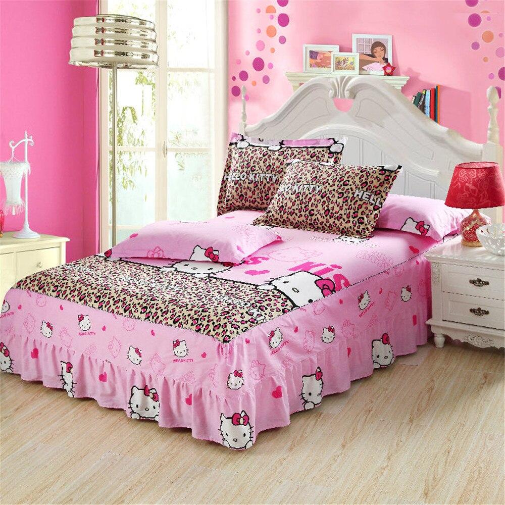 Nova 3 pc rosa dos desenhos animados olá kitty impressão colcha 100% de cama de algodão saia da cama fronha cama twin sets completa rainha king size