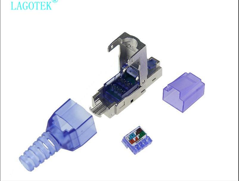 Купить с кэшбэком Tool-Free Shielded RJ45 Cat 7 / Cat6A Termination Plug Cat7 Plug / Cat7 Connector cat6A connectors  Modular 22/23/24AWG
