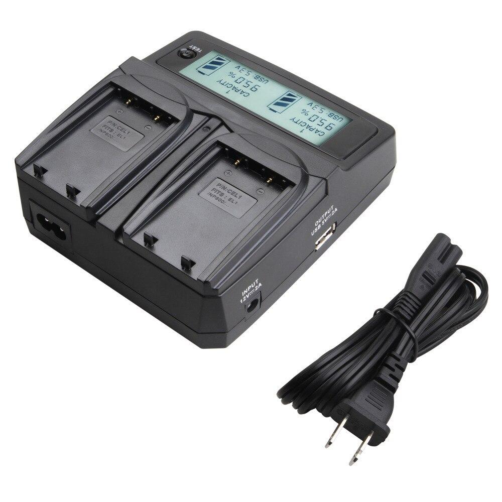 Udoli es EL1 EN-EL1 ENEL1 batería Dual cargador con adaptador de coche LCD pantalla para Nikon Coolpix 4300, 4500, 4800, 5000, 5400, 5700, 775