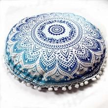 Mandala India almohadas redondas bohemias para el hogar almohadas funda cojines funda taie doreiller coton rectangular sofá 19JUL18