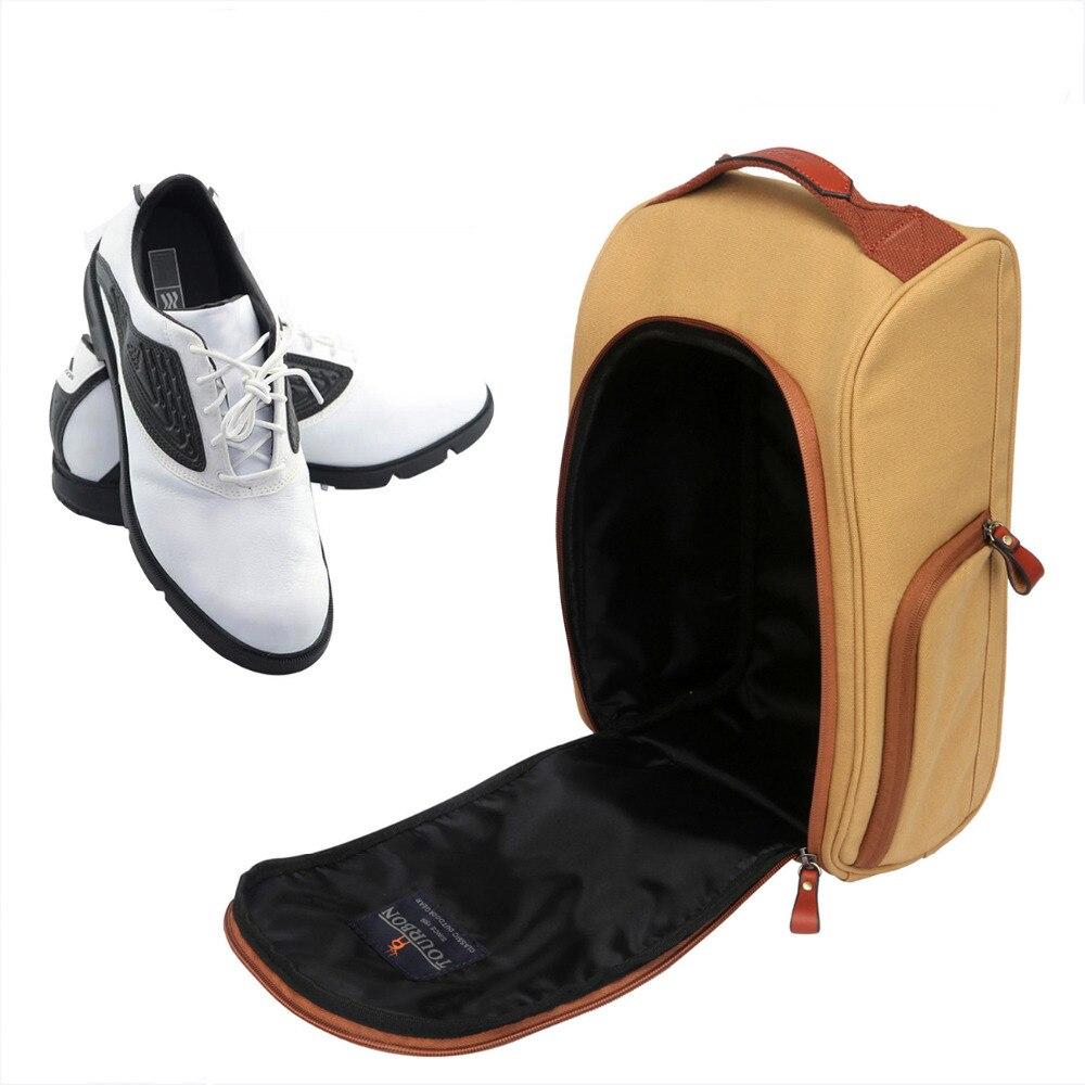 Tourbon zapatos de Golf Vintage bolsa de transporte de lona con cremallera bolsa de deportes caja de zapatos Color caqui