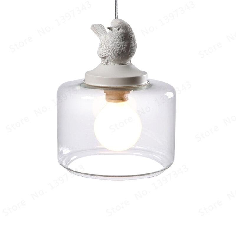 Vintage Industrial moderno Loft lámpara de luz colgante lustre pájaro Designe cristal pantalla E27 barra de soporte lámparas restaurante dormitorio