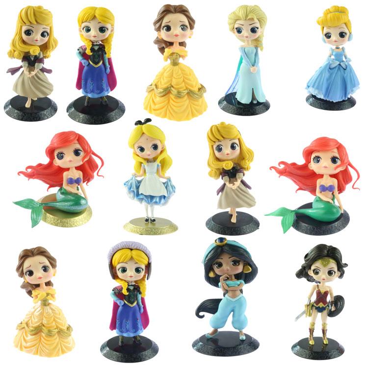 Juguetes de Princesa de Disney Q Blancanieves Merida Posket Elsa Anna Pvc Figuras de Acción Muñecas Juguetes para Niñas Regalo