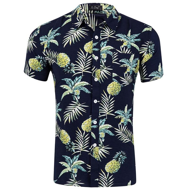 Camisas de manga corta para la playa, camisas con estampado de piñas para hombre, camisetas casuales para hombre, ropa de moda para hombre, tallas grandes S M L XL XXL 2019