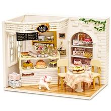 Maison de poupée meubles bricolage Miniature cache-poussière 3D en bois Miniaturas maison de poupée jouets pour enfants cadeaux danniversaire gâteau journal H14