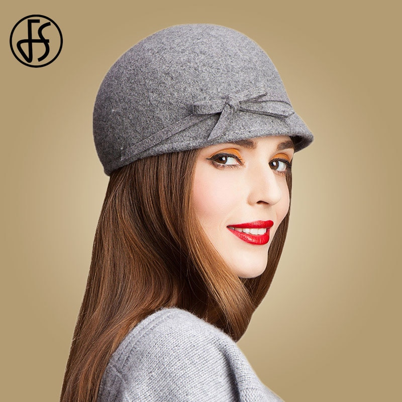 FS Vintage 100% Wool Fedora Floppy Bowknot Winter Felt Hats For Women Grey Black Navy Knight Top Caps Casual Chapeu Feminino