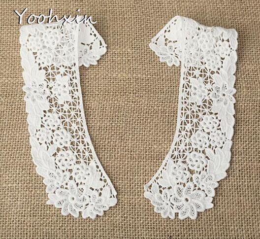 Beautiful white cotton embroidery Lace Ribbon fabric trim collar 3D sewing DIY tassel Neckline women dress Clothing decor