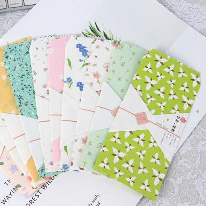 10 unids/pack Hola plantas de papel sobre para regalo de sobres para boda carta papelería