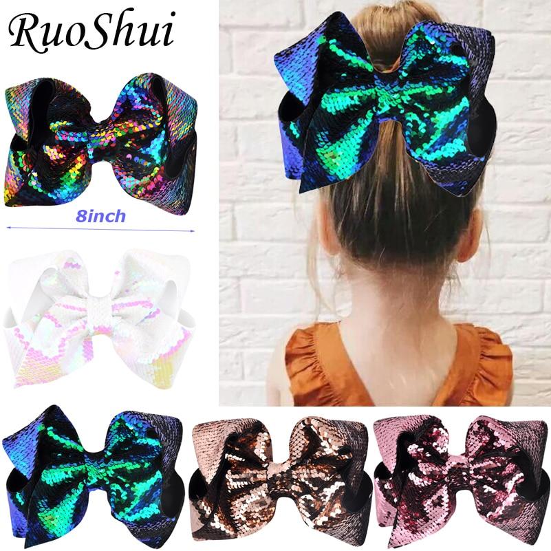 Gran oferta de 8 pulgadas arco iris grande sirena lazo para el pelo grande horquillas cocodrilo niños niñas accesorios para el cabello tocados para festivales de fiesta