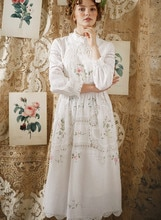 SpringAutumn Frauen Vintage Elegante Baumwolle Weiße Lange Kleid Damen Retro Limited Edition Antike Häkeln Stickerei Formale Kleid