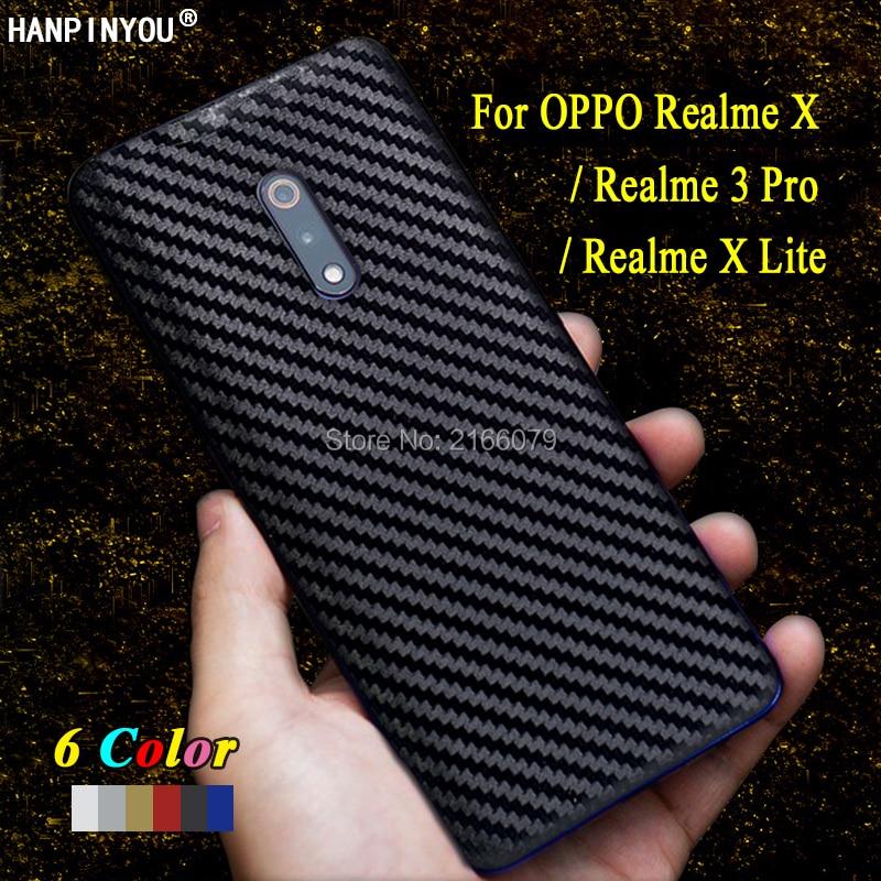 Para OPPO Realme X/Lite/Realme 3 Pro nueva cubierta trasera calcomanía piel 3D fibra de carbono teléfono pegatina protectora película protectora