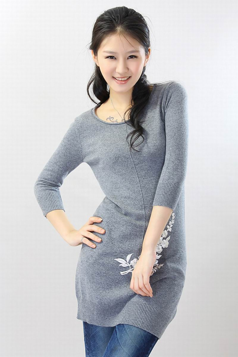 Cashmere sweater Women's long Pullover O neck Blue Warm Natural fabric High Quality Stock clearance Free shipping enlarge
