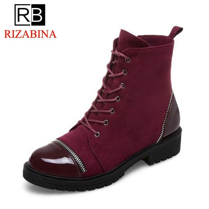RizaBina, botas planas para mujer de talla 34-43, botas de tobillo de Color con cordones, zapatos de invierno modernos, calzado para mujer
