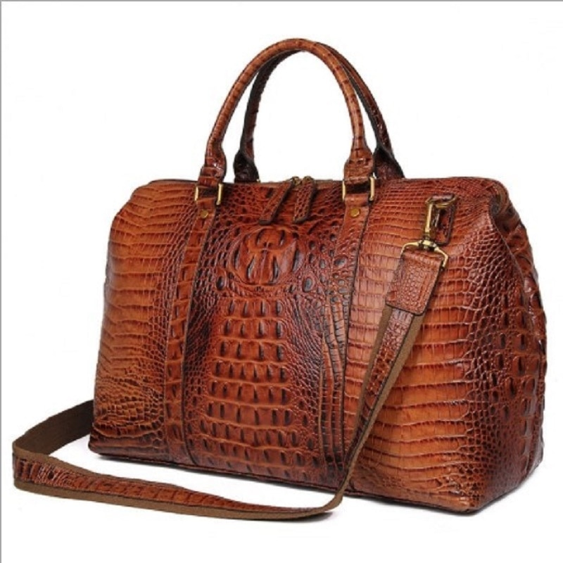 Women Travel Duffle Large Capability Real Leather 18 Weekend Bag 2018 Lady Business  Crocodile Laptop Travel Tote Handbag Bag fasiqi crocodile leather chest bag leisure travel 2018 multifunctional new stylish messenger tote large capacity crocodile skin