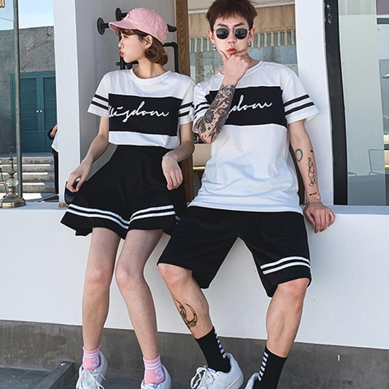 Ropa de Hip Hop para traje de baile femenino hombres Tops blancos + pantalón/falda traje calle Cheerleading Hip Hop Performance Stage Wear VDB017