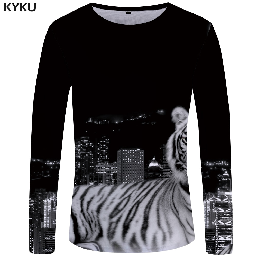 Camiseta de manga larga para hombre de KYKU Tiger, camiseta negra de Anime City 3d, camisetas divertidas de Harajuku, ropa para hombre de Hip hop Rock 2018