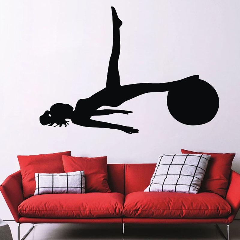 Pegatina de pared con bola para Pilates para mujer, pegatinas de pared para Yoga, deportes gimnasia, arte extraíble, decoración del hogar, pegatinas de vinilo