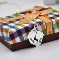 925 solid silver baby feet necklace double name stamp pendent personalized initial stone memorial jewelry children gift