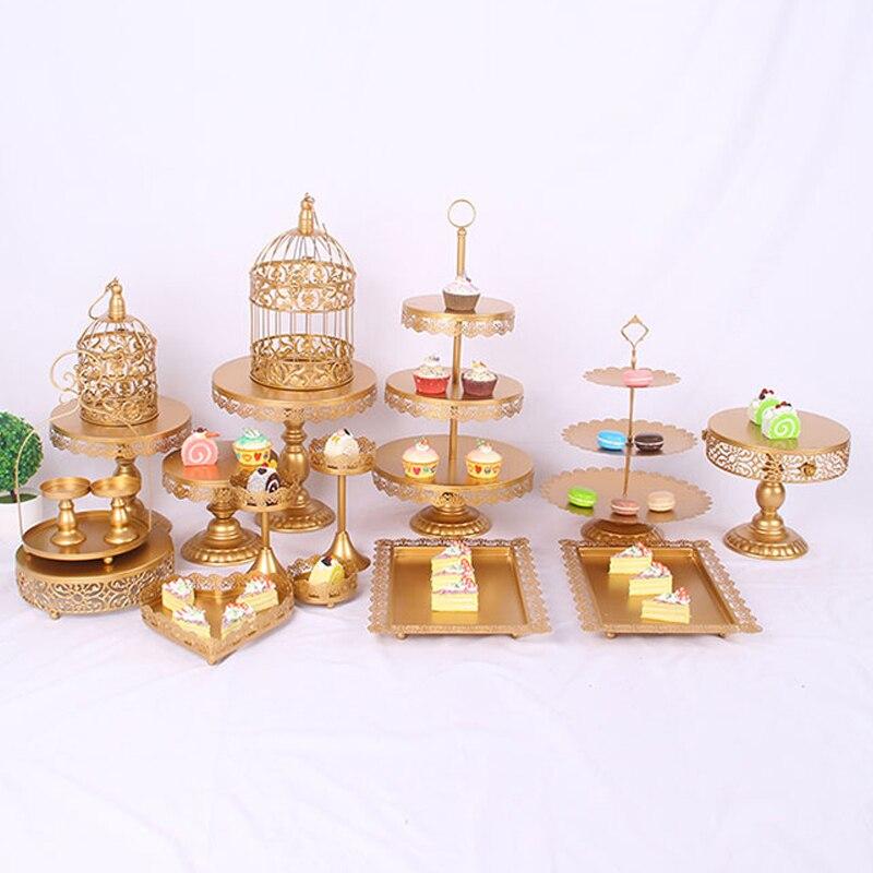 O carrinho do bolo de ouro 6 pces-18 pces peças apoiar o bolo de muffin cozinhar ferramentas conjunto decoração festa china