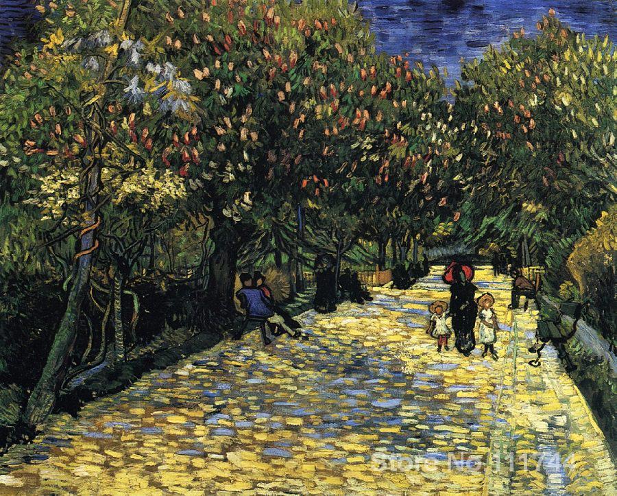 Pintura sobre lienzo de gran calidad, pintura al óleo con árboles de castañas florecientes de Vincent Van Gogh