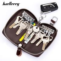 Large Capacity Genuine Leather Men Key Holder Wallet Key Chain Zipper Male Car Keys Cover Organizer Case Man Key Bag