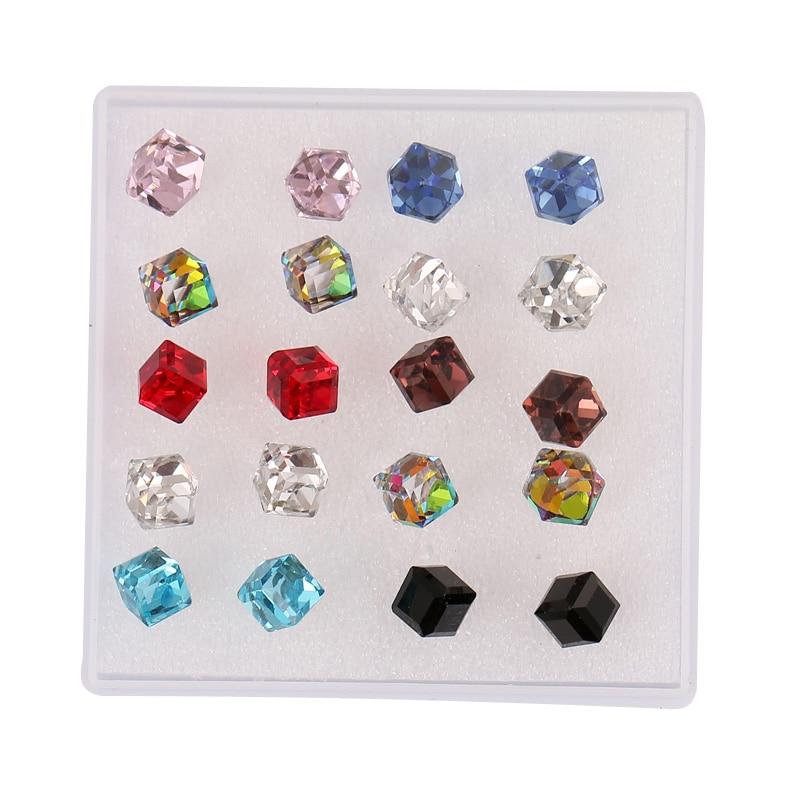 Set de 10 pares de pendientes de tuerca de moda para mujer, pendientes de tuerca cuadrados de cristal ostentosos, Rosa y Rojo Piercing en forma de cubo, regalo de joyas de fiesta para chicas