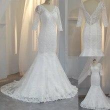 Demi manches robe de mariée élégante sirène robe de mariage col en v zipper vestido de noiva cap manches pour mariage 2019 Appliques