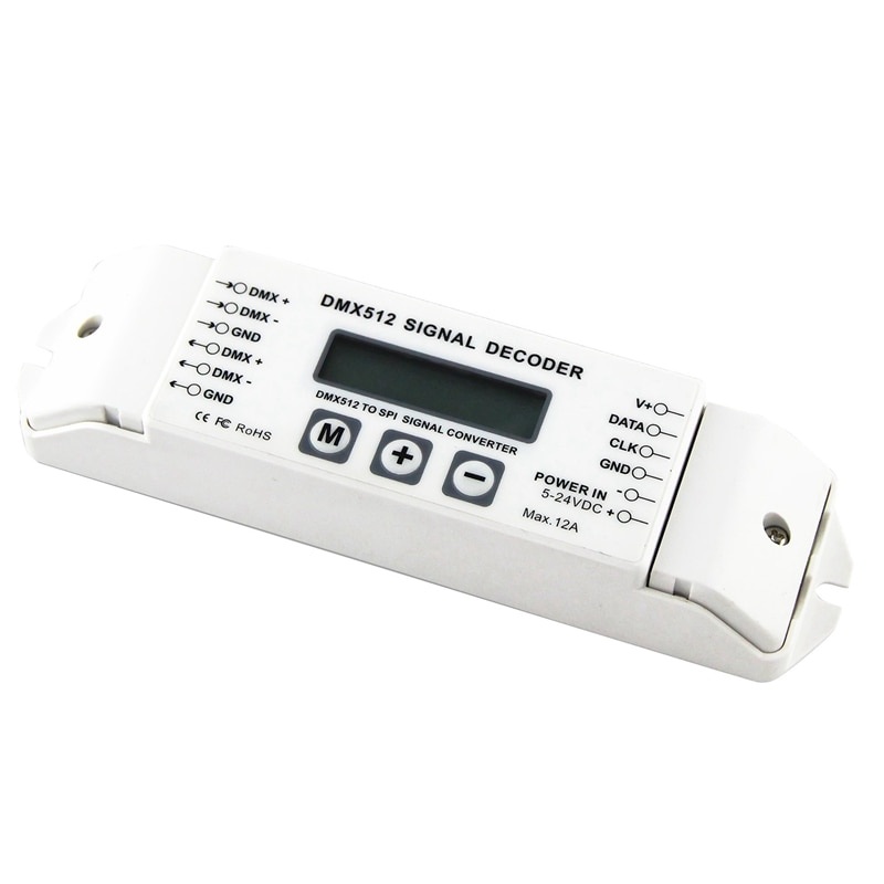 Decodificador de señal Bc-820 Dmx a Spi, convertidor Dmx512 Lpd6803 8806 Ws2811/ 2801 Ws2812B 9813, controlador de luz de píxeles Led Dc5V-24V