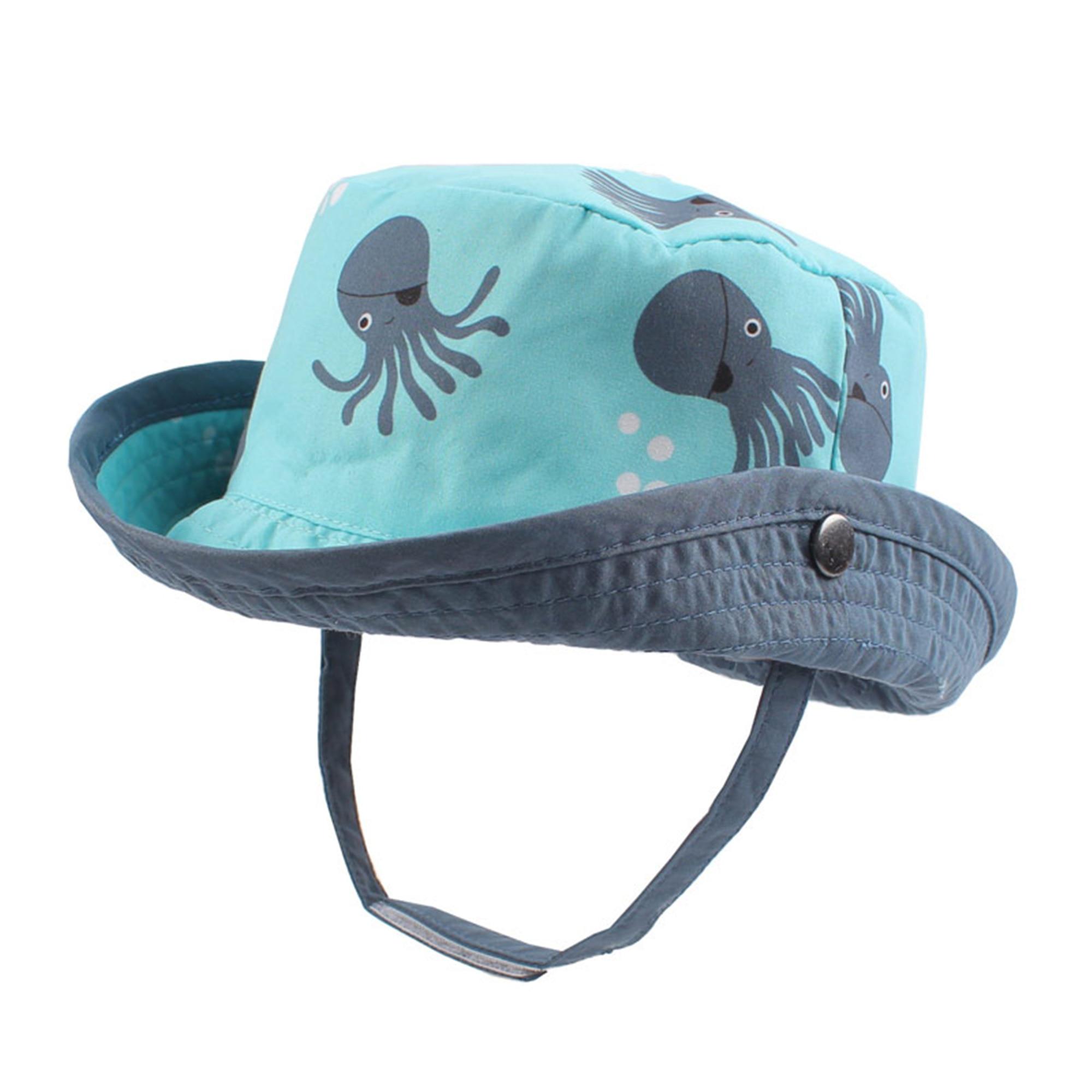 Детская Панама с изображением осьминога; детская летняя солнцезащитная Кепка для маленьких мальчиков и девочек; Весенняя ветрозащитная кепка; хлопковый капот; Chinstrap