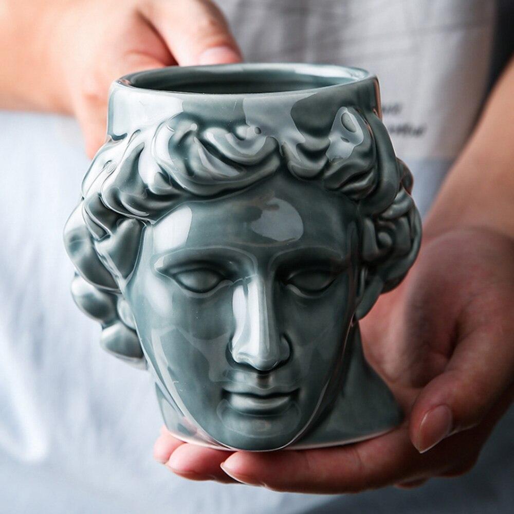 1 Pcs Creative 3D Style David  Sculpture Ceramic Mug Coffee Tea Milk Drinking Cups with Handle Coffee Mug for Office Novelty Gif