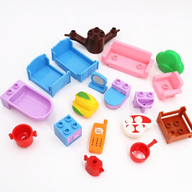 Duploe Accessories Fantasy Sofa Bathroom Furniture Corn Ham DIY Building Blocks Baby Toys for Children Educational Toy kids gift