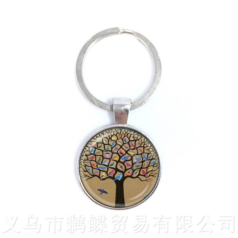 Tree of Life Keychain Birds Picture Glass Cabochon Jewelry Keyring Accessories For Men Women Gift