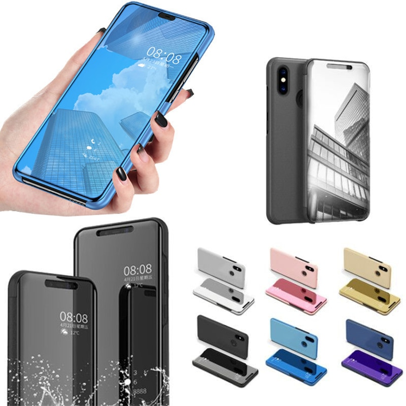 Ver inteligente mi rror funda de teléfono para Xiaomi mi CC9 9T 8 lite 8se 9 SE 6X 5X 6 Note 3 Flip Cover mi Max3 mi x3 mi x 2 De cuero caso