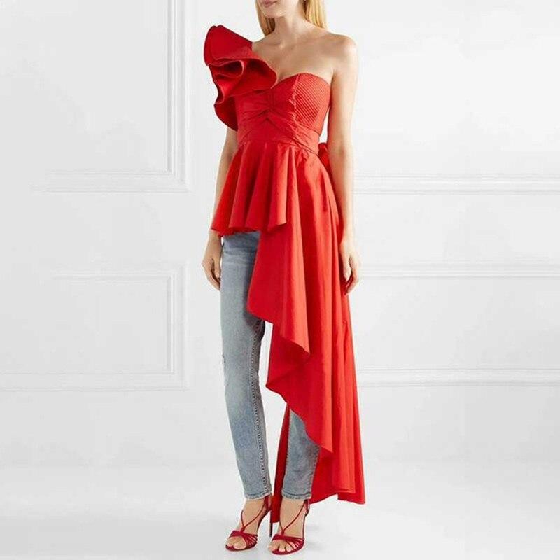 بلوزة شيفون طويلة غير منتظمة مع أكتاف عارية للنساء ، 2019 ، ملابس الشارع المثيرة ذات التصميم المدرج