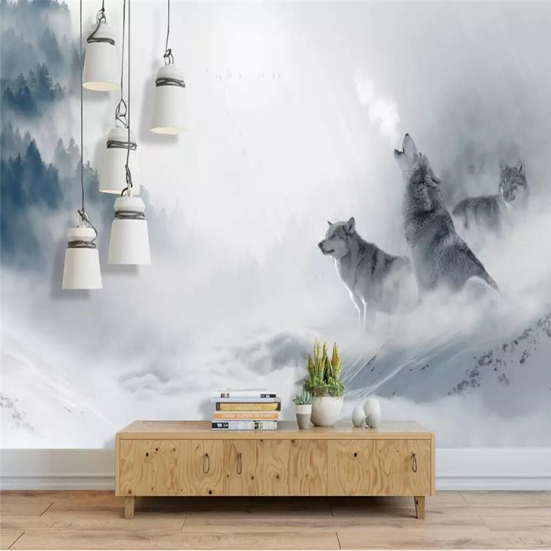 جميلة ضبابي الغابات الشمال الحد الأدنى الذئاب خلفية المهنية مخصص جدارية الجملة خلفيات المشارك الصورة جدار