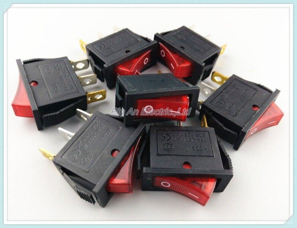 KCD3-102N 10Pcs Red Light 3Pin 2 Position Rocker Switch 16A/250V 20A/125V ON/OFF KCD3