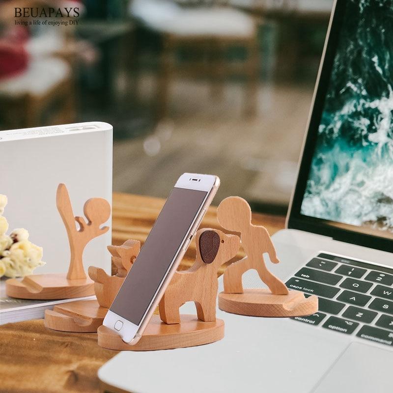 1 Uds. Artesanía de madera maciza escritorio cabecera regalo Personal Sastre personalizado soporte para teléfono móvil haya ciervo perezoso del teléfono móvil