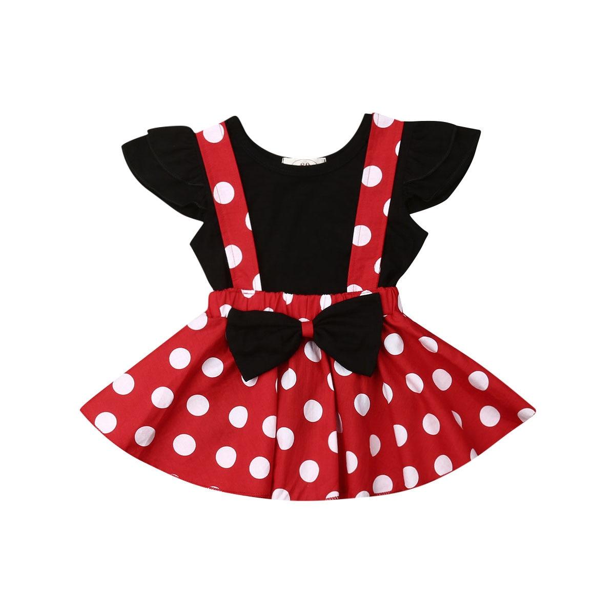 2PCS Set Kleinkind Kinder Baby Mädchen Fliegen Hülse Schwarz T-shirt Tops Dot Bogen Hosenträger Kleid Outfits Prinzessin Mädchen Kleidung