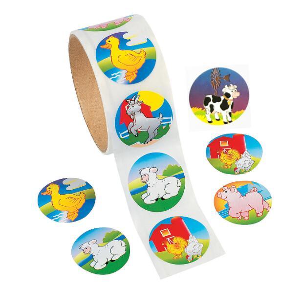 1 rollo (100 pegatinas) pegatinas de papel de dibujos animados lindos rollos de animales de granja Gallo pato lechero pato pegatina de cerdo