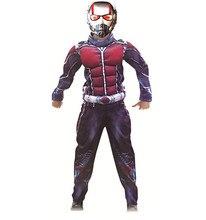 Costume de Muscle homme fourmi de luxe garçons Marvel nouveau super-héros Cosplay déguisement dhalloween tenue 3 pièces pour les enfants