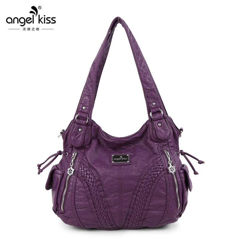 Lady Solid Washed Large Capacity Shopping Shoulder Bags Designer PU Leather Soft Hobo Handbags Luxur