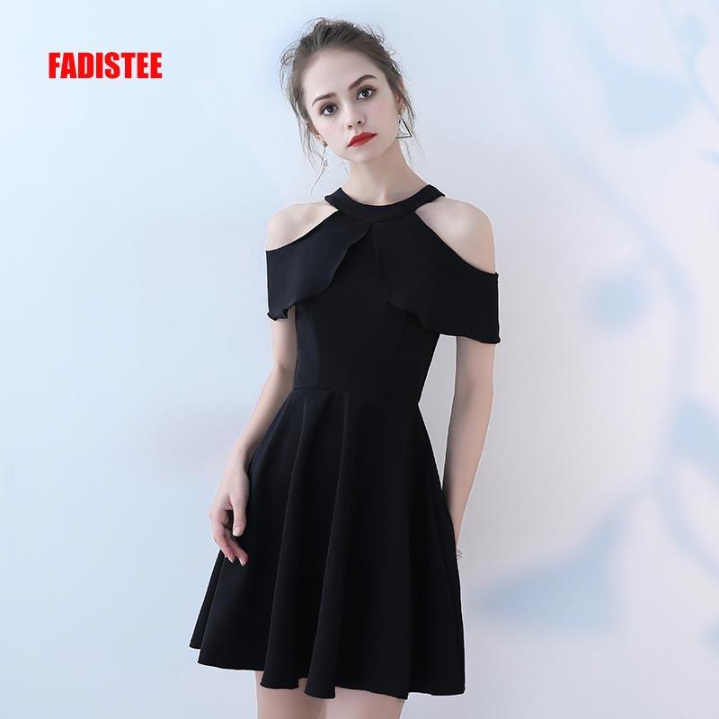 FADISTEE-فستان سهرة ساتان أسود ، فستان سهرة أنيق ، مطاطي ، ياقة رسن ، مجموعة جديدة