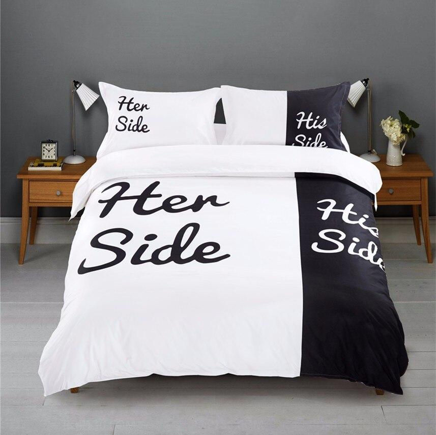 جديد حار لها الجانب جانبه أبيض وأسود 3 قطعة/4 قطعة الفراش مجموعات الملكة/الملك الحجم زوجين مزدوجة السرير أغطية سرير الأزواج حاف مجموعة غطاء